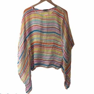 Drew striped sheer blouse size small